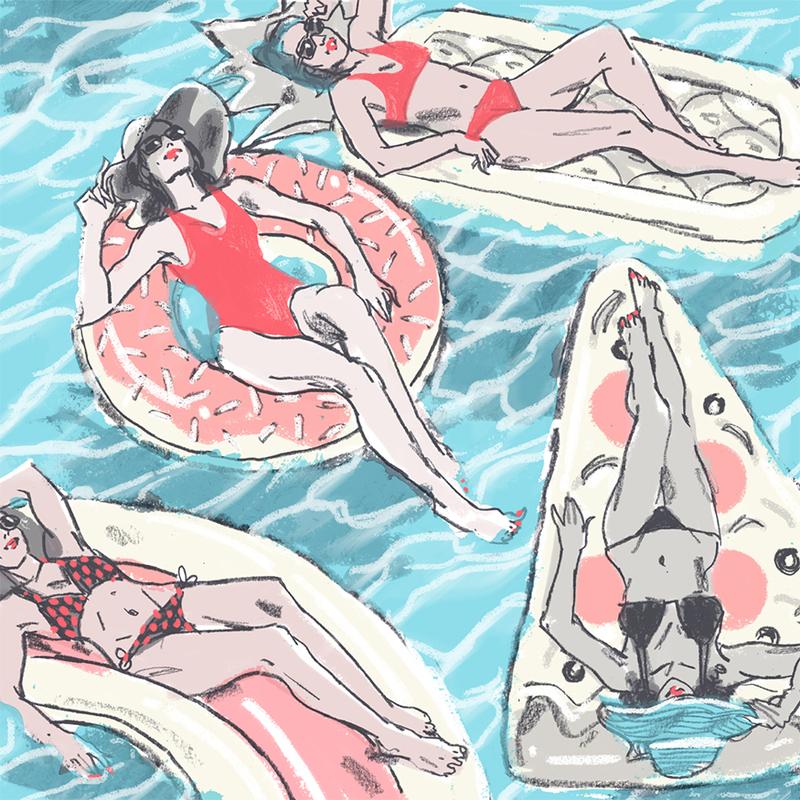 women on fun pool floaties